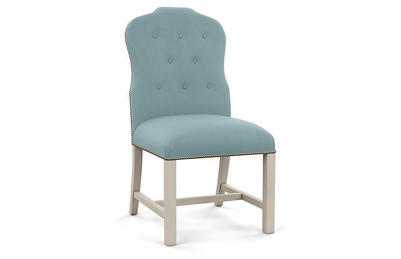 Jack Side Chair, Blue Linen