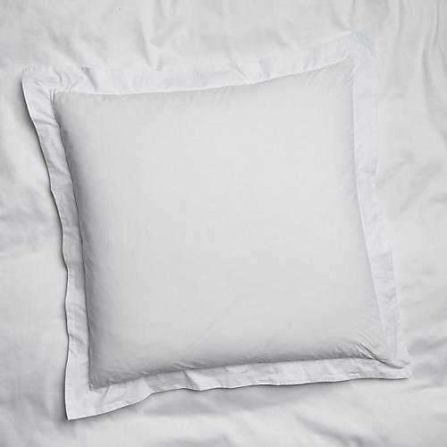 S/2 Nap Percale Euro Shams, White
