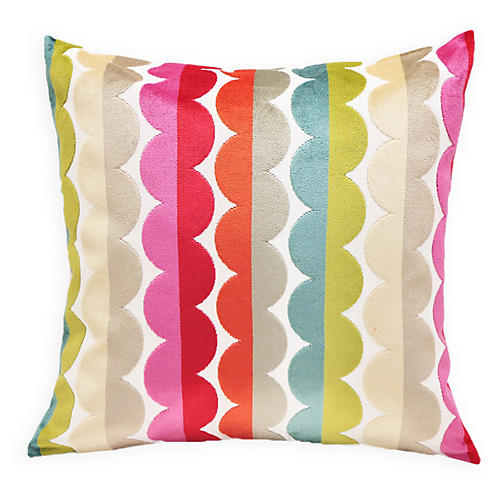 Grace 22x22 Velvet Pillow, Multi