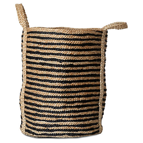 Jute Laundry Basket, Natural/Charcoal