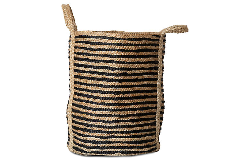 Jute Laundry Basket, Natural/Charcoal
