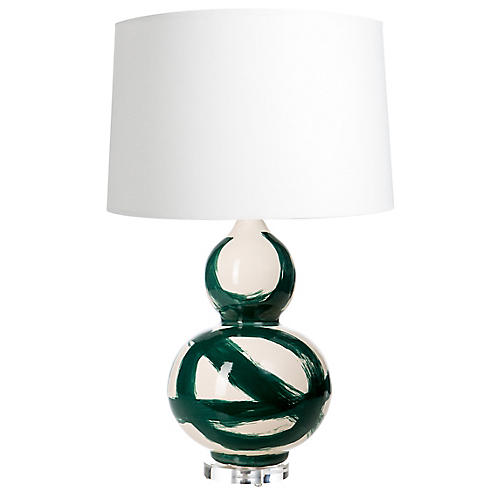 Hand-Painted Table Lamp, Emerald