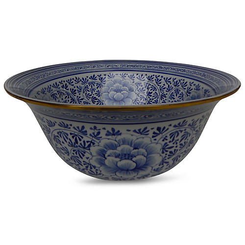"""15"""" Covered Parsley Bowl, Blue/White"""