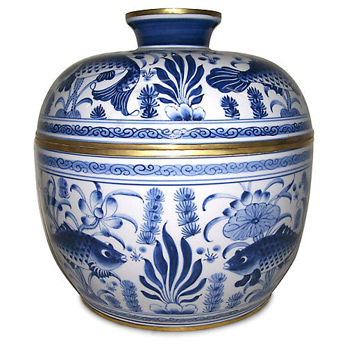 "12"" Covered Fish Bowl, Blue/White"