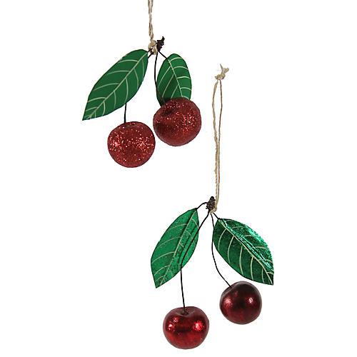 Asst. of 2 Cherry Glitter Ornaments, Red/Green
