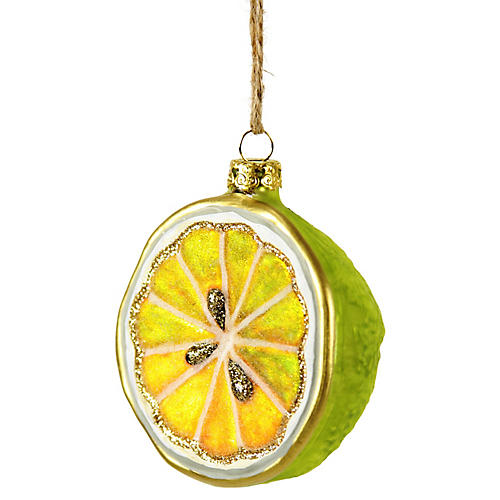 Sliced Lime Ornament, Green/Yellow