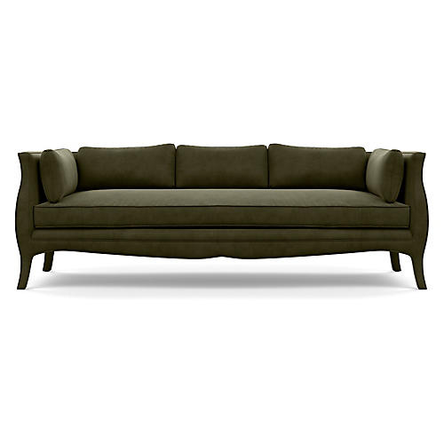 """Southern Belle 82"""" Sofa, Olive Velvet"""