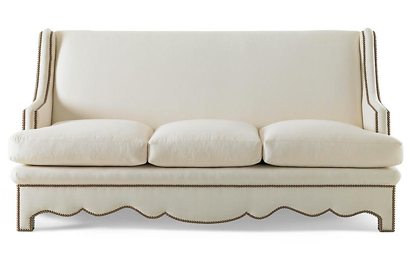 Nailhead Sofa, Natural Linen