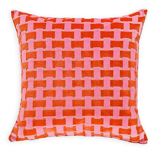 Gwen 22x22 Velvet Pillow, Pink