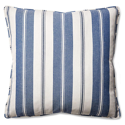 Essex 22x22 Throw Pillow, Denim/White