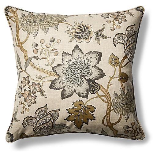 Jacobean Flair 22x22 Throw Pillow, Gold