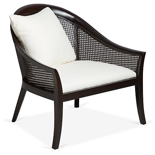 Biloxi Cane Accent Chair, Walnut/White