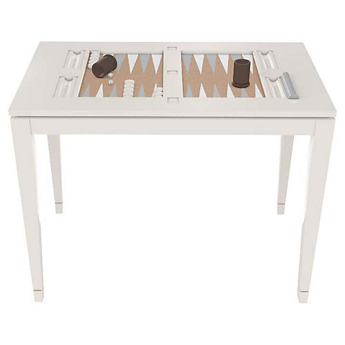 Backgammon Game Table, White Dove