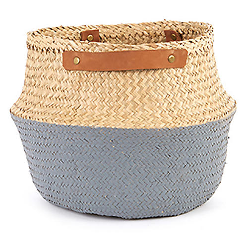 "15"" Belly Basket w/ Leather Handles, Natural/Gray"
