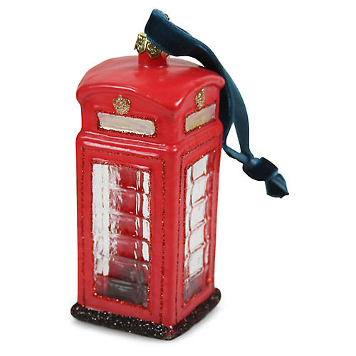 London Telephone Booth Ornament, Red/Black