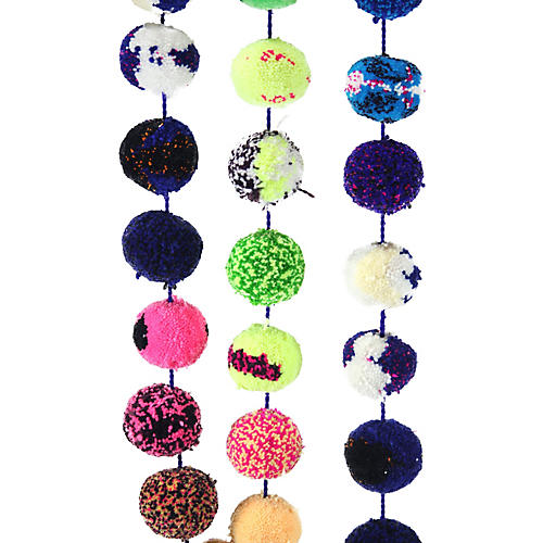 Rainbow Pom-Pom Garland, Blue/Multi