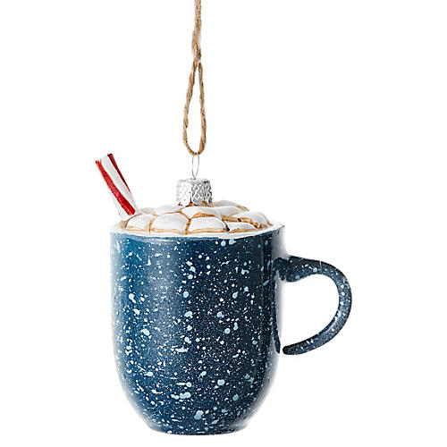 Cocoa Mug Ornament, Blue/Multi