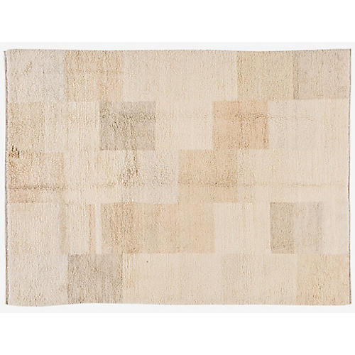 "8'4""x10'10"" Moroccan Hand-Knotted Rug, Ivory/Beige"
