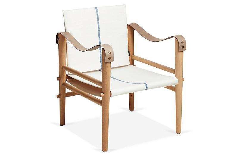 Toulouse Accent Chair, Navy Stripe Linen - Temps Libre - Brands ...