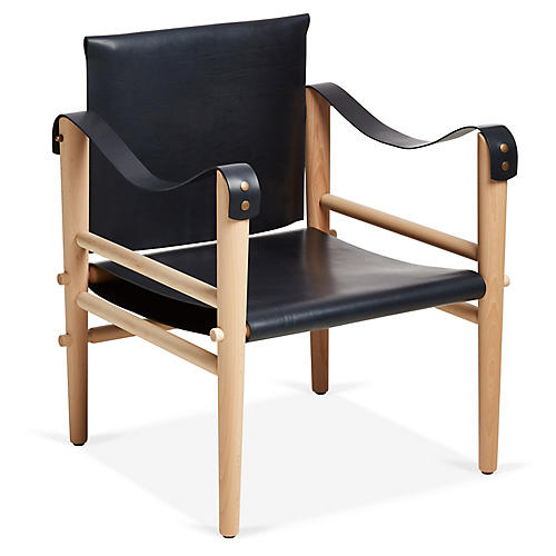 Toulouse Accent Chair, Navy Leather