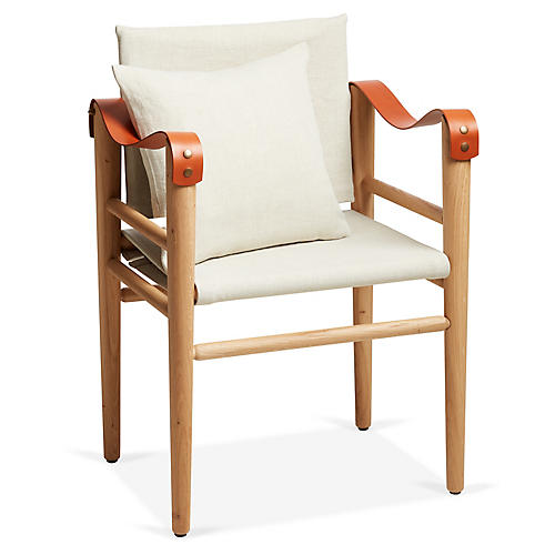 Toulouse Armchair, Orange/Beige Linen