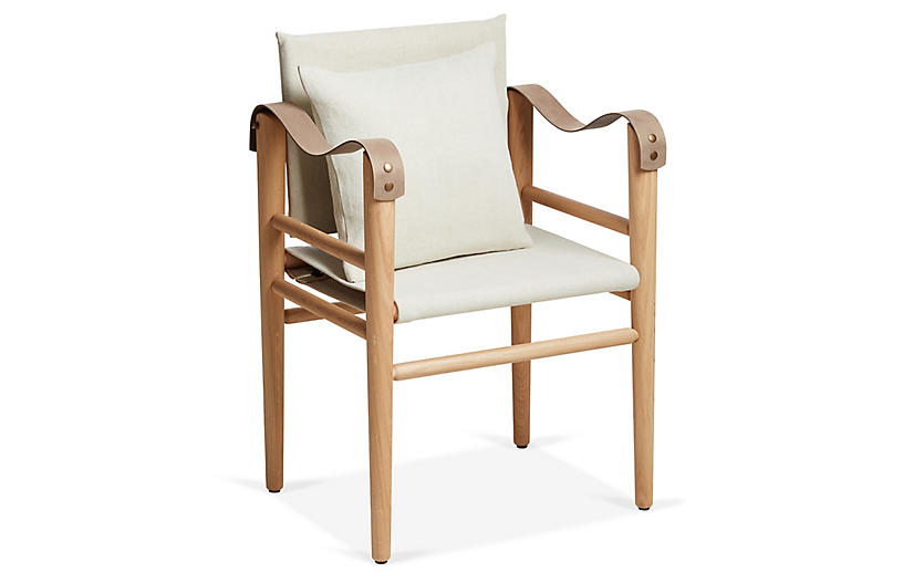 Toulouse Armchair, Taupe/Beige Linen
