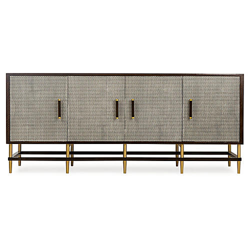 Herringbone Sideboard, Cherry/Gray
