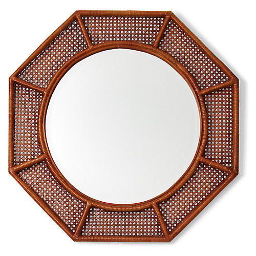 Orly Octagonal Wall Mirror, Natural