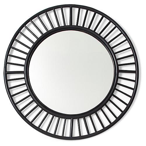 Tala Round Wall Mirror, Black