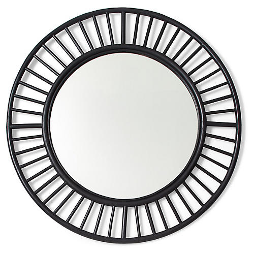 Tala Round Wall Mirror, Black