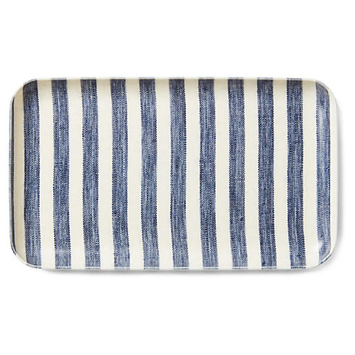 Linen-Coated Stripe Serving Tray, Blue/White