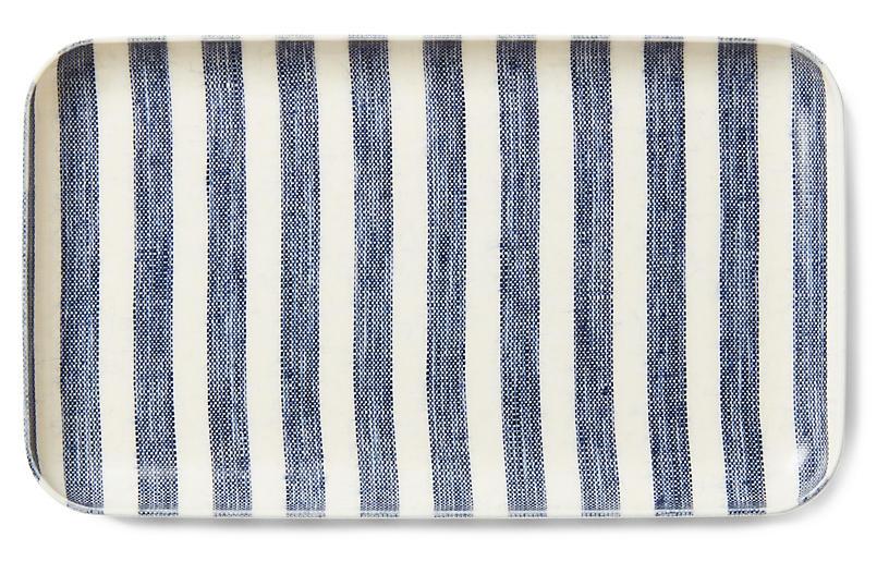 Linen-Coated Stripe Serving Tray - Blue/White - FOG LINEN