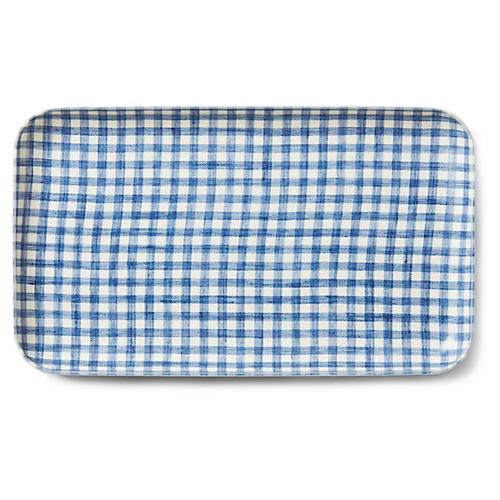 Linen-Coated Check Serving Tray, Blue/White