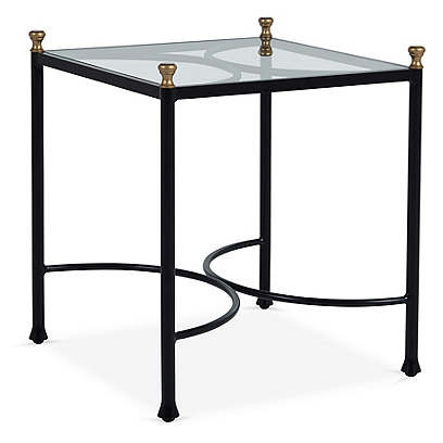 Frances Side Table, Black/Antiqued Gold