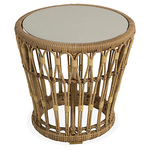 Palma Outdoor Wicker Side Table, Off-White