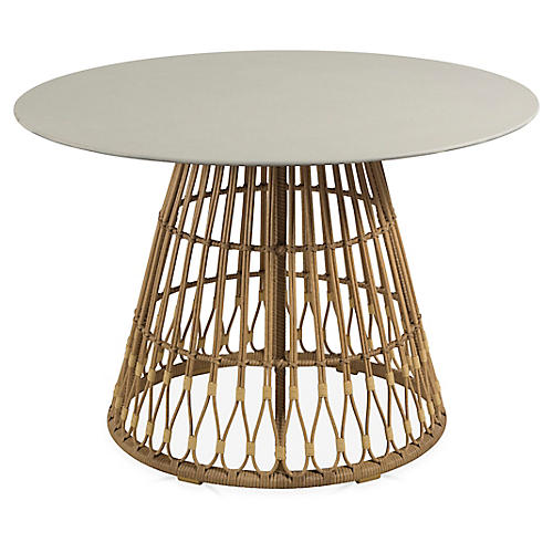 Palma Outdoor Wicker Dining Table, Off-White