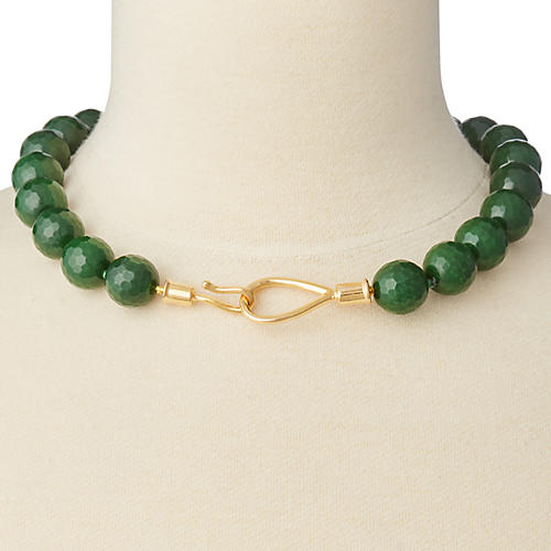 Green Quartz Lasso & Hook Collar Necklace