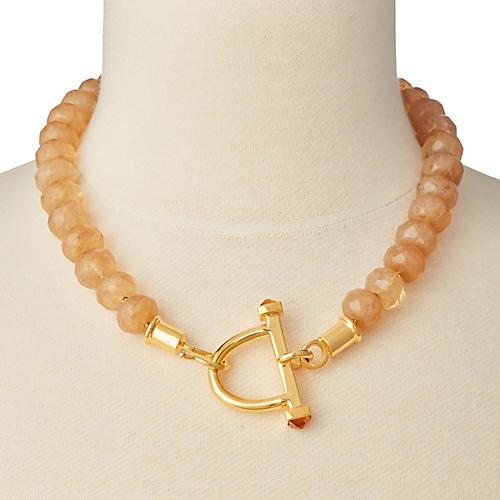 Citrine Stirrup & Hook Necklace, Brass