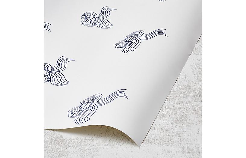 Clare V Bows Wallpaper, Blue
