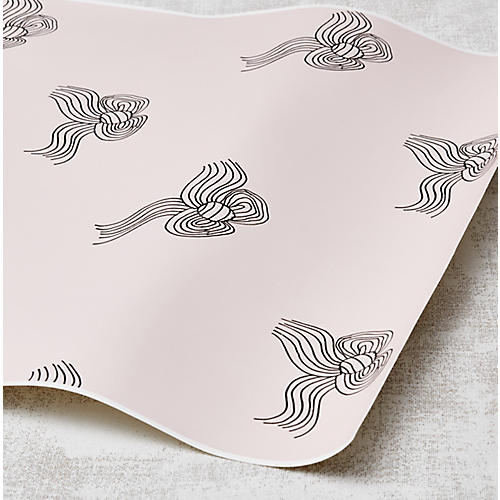 Clare V Bows Wallpaper, Charcoal/Shell