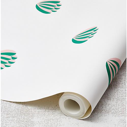 Clare V Lotus Wallpaper, Emerald/Pink