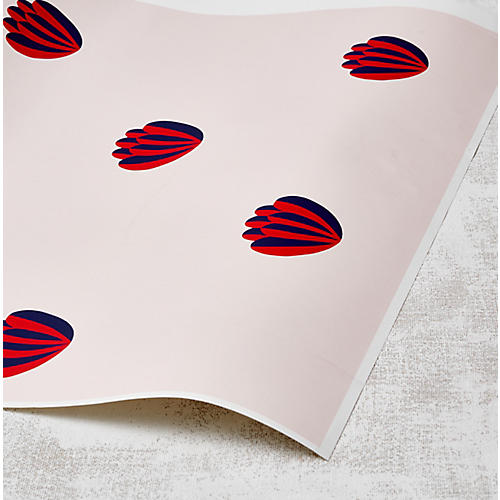 Clare V Lotus Wallpaper, Red/Shell