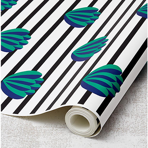 Clare V Lotus-Stripe Wallpaper, Onyx
