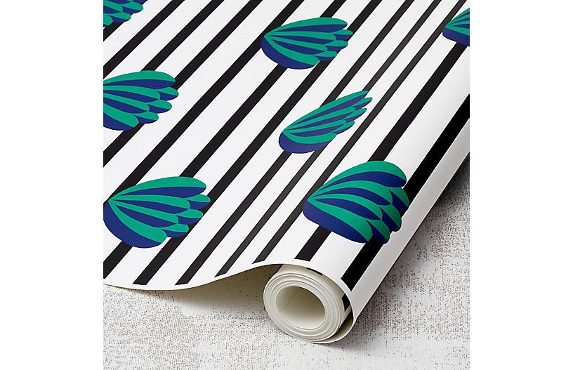 Clare V Lotus-Stripe Wallpaper, Onyx