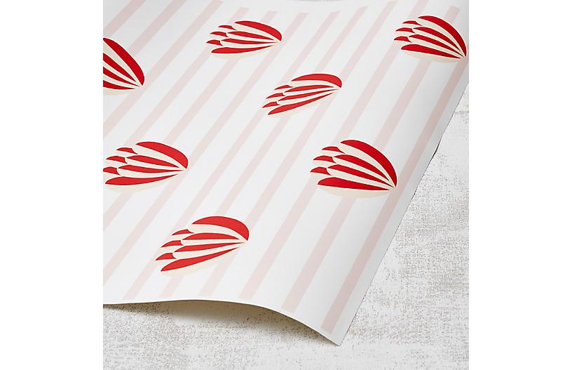 Clare V Lotus-Stripe Wallpaper, Pink