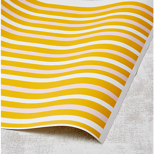 Clare V Stripes Wallpaper, Marigold