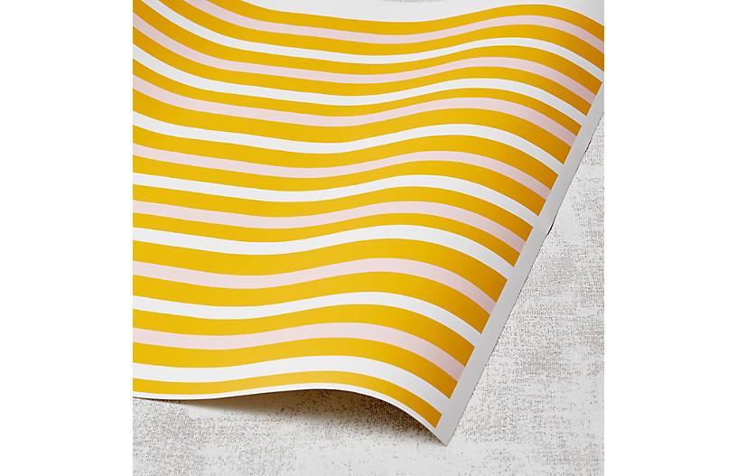 Clare V Stripes Wallpaper, Marigold