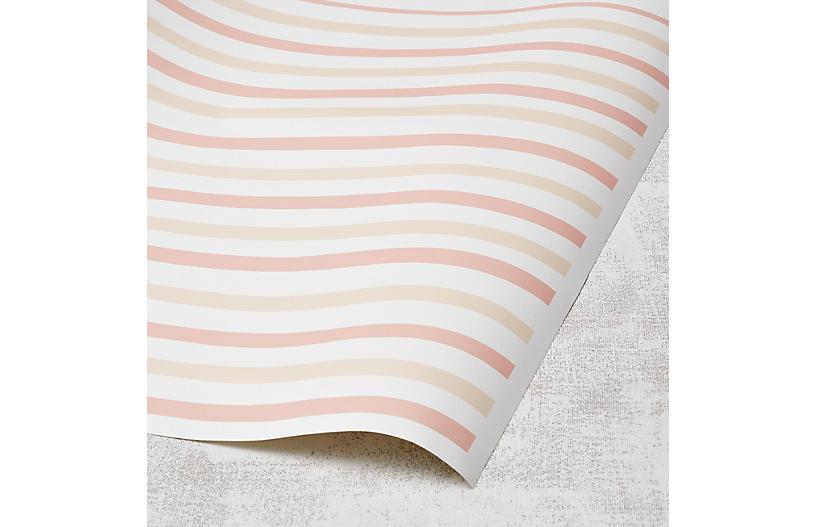Clare V Stripes Wallpaper, Shell