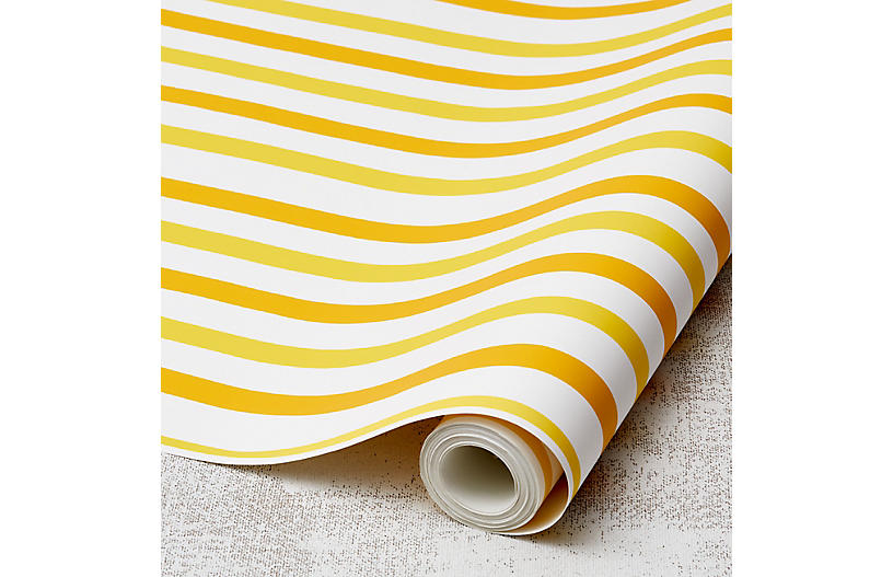 Clare V Stripes Wallpaper, Yellow