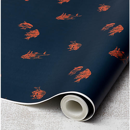 Nathan Turner Goldfish Wallpaper, Indigo